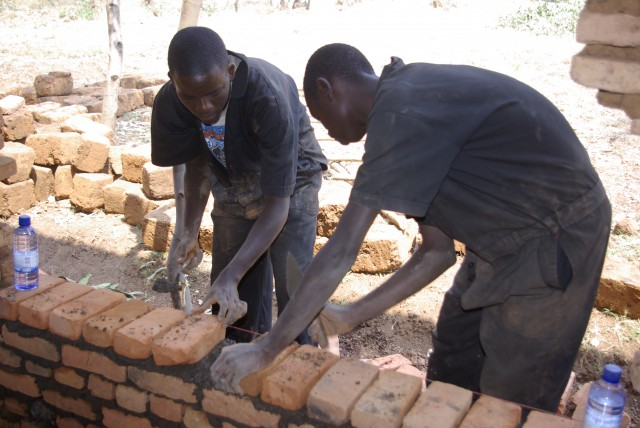 Construction students at work