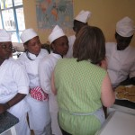 Catering students learning to make biscuits